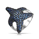 Bling Jewelry Pave Simulated Blue Sapphire Starfish CZ Cocktail Ring Rhodiniert