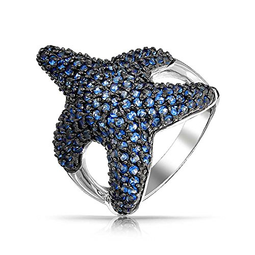 BLING JEWELRY PREPARAR AZUL ZAFIRO COLOR CZ TARFIH COCTEL ANILLO DE PLATA ESTERLINA 925