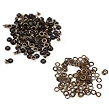100pcs Occhielli in metallo Kit Occhielli piccoli con rondelle Fissaggio per pelle artigianale Cucito fai da te(5mm)