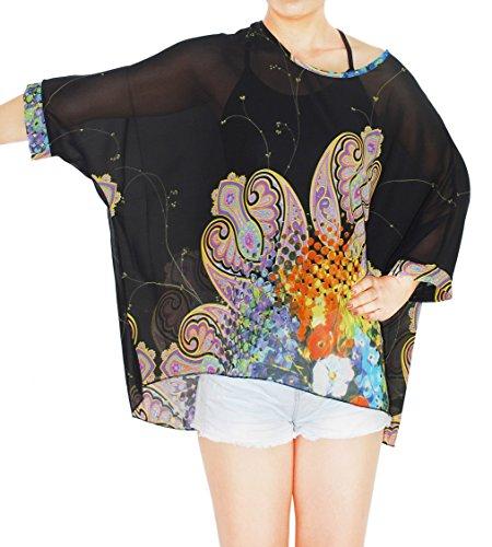 Oksakady Frauen Lose T-Shirt Chiffon Batwing Ärmel Bluse Plus Size Tunika BOHO-20