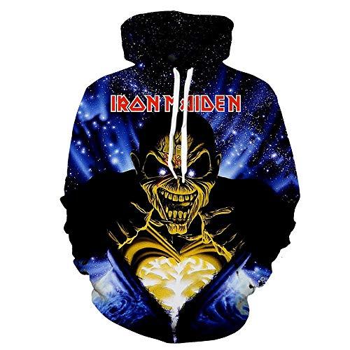 Kapuzenpullover,Iron Maiden Unisex 3D Cartoon Neuheit personalisierte Sweatshirt Pullover mit Kapuze Freizeit Hoodie @ Anime_4XL -