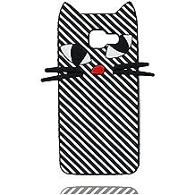 Case Samsung Galaxy A3 2016 Coque, [ 3D Cartoon chat Stripe TPU Soft Flexible ] Étui Samsung Galaxy A310 Cover, Dust Slip Scratch Resistant