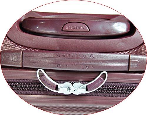 5 Cities Leichtgewicht ABS Hartschale 4 Rollen Handgepäck Trolley Koffer Bordgepäck Kabinentrolley Reisekoffer Gepäck , Genehmigt für Ryanair , Easyjet , Lufthansa (Schwarz + Zweite-Tasche) 2 x Burgund