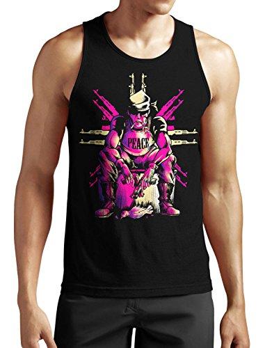 Gun Peace Tank Top Neu Fun Satire MMA Fashion Funny Old School Retro Kult Game Schwarz