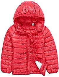 Niños Niñas Chaqueta de Invierno Plumón con Capucha Infantil Ligero Compresible Corta Abrigo