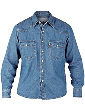 Camicia Jeans Da Uomo Duke London Misura King Stone Wash Top A Manica Lunga