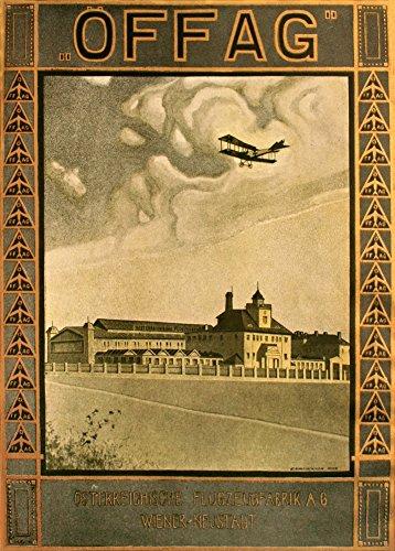 Vintage austrian ww1 1914-18 offag trasporto aereo produttori, vienna-cartolina illustrata, formato a3, 250 g/mq, riproduzione