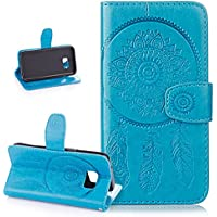 Galaxy S7 Case,Wallet Case for Galaxy S7,ikasus Embossing Dream Catcher Ethnic Tribal Feather Campanula PU Leather Fold Wallet Pouch Case Premium Leather Wallet Flip Stand Credit Card Holders Case Cover for Samsung Galaxy S7,Dream Catcher:Blue