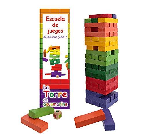 Outlletdelocio. Torre Jenga XXL de colores, juego de equilibrio en madera maciza. 60 piezas. Dado incluido