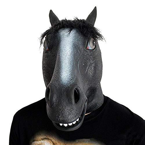 OYWNF Latex Pferdekopf Maske Halloween Party Maskerade Show Tier Kostüm Masken Requisiten (Color : Black, Size : One Size) (Lustige Pferdekopf Kostüm)