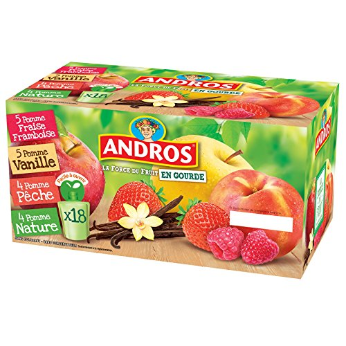 ANDROS  Compotes de fruits en gourdes 4 variétés panachées 18x90g = 1,62 kg - Lot de 2