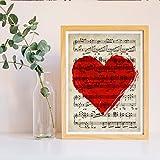 Nacnic Lámina para enmarcar Corazon sobre partitura Estilo Vintage. Poster con Partitura e ilustración en Rojo. Tamaño A3