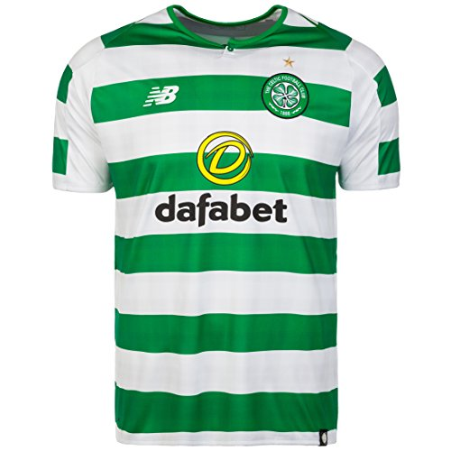 New Balance Herren Celtic FC Home Short Sleeve Jersey, White Green, L