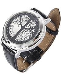 SODIAL(R) Reloj LED Pantalla Tactil Hibrida Azul Material Acero Inoxidable Diseno Elegante, Con Llevaro de Clase Alta, Banda de Cuero, Soporta Pantalla Tactil