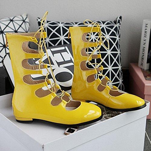 COOLCEPT Damen Mode-Event Schnurung Niedrig Schuhe Geschlossene Flach Sommer Stiefel Cut Out Schuhe Mit Zipper Gelb