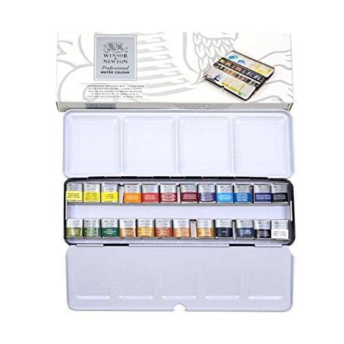 Winsor & Newton 190553 Professional Watercolours (feinste Künslter Aquarellfarbe - Metal Box 24 Farben in 1/2 Näpfchen (Sketcher-box)