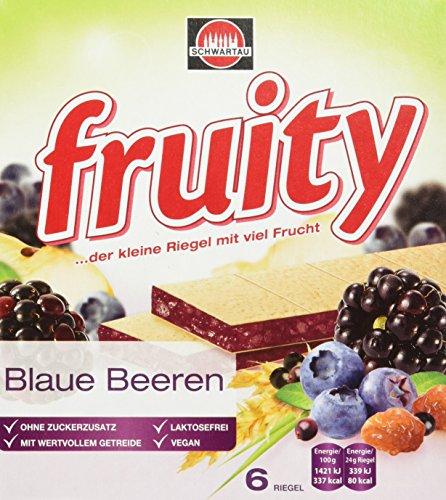 Schwartau fruity Blaue Multifrucht, Fruchtriegel mit Oblate, 8er Pack (8 x 144 g Schachtel)