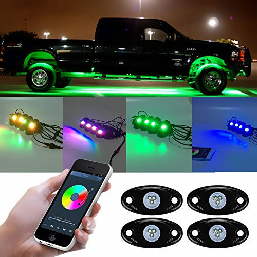 Auto LED-Rock Light Kit & #-; 4Pods RGB Multicolor Super Hell Neon Light mit Handy Bluetooth kabelloser Controller Timing Musik Modus Blinken Wasserdicht Stoßfest für Motorrad Truck Auto Boot - Bluetooth-auto-rad