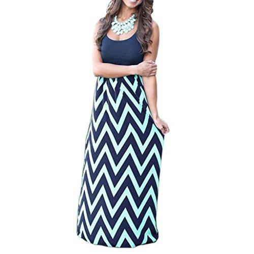 ITISME Striped Blumen Long Boho Kleid Lady Beach Elegant Maxikleid Sommer Kleid (S, Marine)