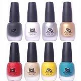 #6: Makeup Mania Premium Nail Polish - Combo of 8 Velvet Matte Nail Paint - Red, Yellow, Nude, Turquoise, Black, White, Silver, Golden - 12 ml each bottle (MM# 15-19)