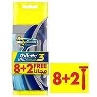 Gillette Blue Simple3 Men's Disposable Razors, 8+2 Count