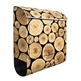 Design Briefkasten Homey Firewood | natur holz wald feuer muster, Postkasten mit Zeitungsrolle, Wandbriefkasten, Mailbox, Letterbox, Briefkastenanlage, Dekorfolie