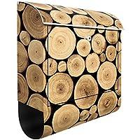 Cassetta postale Homey Firewood | 39x46x13cm Cassetta per lettere Cassetta postale di design con Supporto Giornale Cassetta postale con giornale rotolo Post Box, Dimensione: 46cm x 39cm
