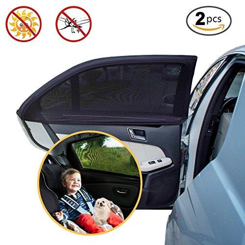 Sonnenschutz Auto für Kinder by PULNDA, Flexibel Hinterseitenfenster Sonnenblenden für Autofenster Schutz vor Schädlichen UV-Strahlen Sonnenschutz , Große 49x21 Zoll passen die meisten Autos (2 Stück)