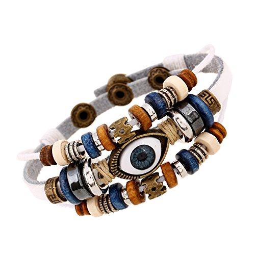 ZGRJIUERYI Lederarmband,Leder Snap Armband, Perlen Auge Leder Weiß Armband Einstellbare Männer Und Frauen Leder Armband Schmuck, Personalisierte Kleidung Accessoires Schmuck