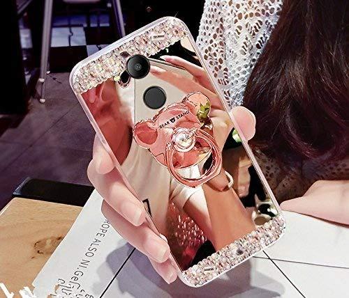 Funda para Huawei Honor 6C Pro, funda para Huawei Honor 6C Pro, ikasus Bling, diamantes de imitación con purpurina de goma, carcasa para espejo de maquillaje con soporte de oso Kickstand suave TPU parachoques para Huawei Honor 6C Pro,
