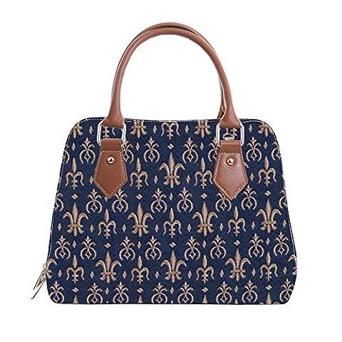 Mittelgroße Handtasche/-Schultertasche für Damen (Fleur de Lis) – im Gobelin Stil