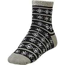 Yaktrax Women's Cozy Cabin Socks Black Cream