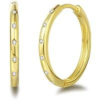 Damen Creolen Ohrringe Runde Klein aus 925 Sterling Silber mit Rundschliff Zirkonia Basic Minimalist Schmuck Geschenk…