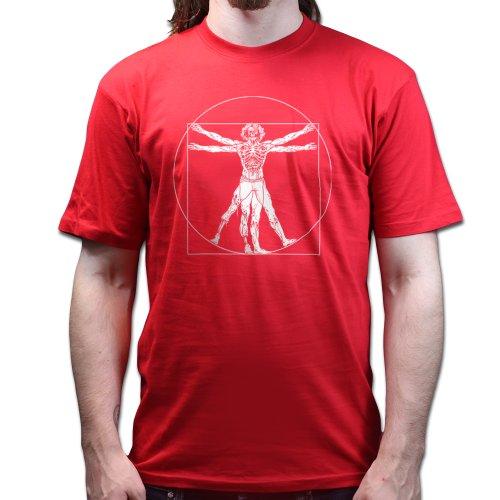 Vitruvian Zombie Man Da Vinci T-shirt Rot