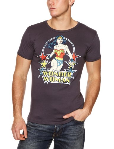 Wonder Kostüme Woman T Mädchen Shirt (Logoshirt Herren T-Shirt DC Wonder Woman Stars, Gr. Xx-large, Blau (Medium)