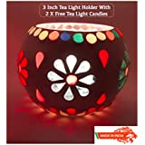 Ethnic Handmade Glass Votive Tea Light Candle Holder 3 Inches - Colorful Centrepiece For Table Tea Light Holders - Home Decor Diwali Decoration & Gift Item - 1 Piece Tea Light Holder With 2 Tea Light Candles In Each Pack - B075JMMT74