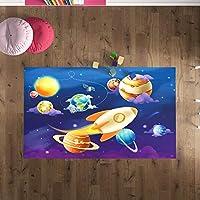 Çocuk Odası Oyun Halısı, Kaymaz Tabanlı Halı ve Kilimler, Uzay Aracı Desenli Kız Erkek Çocuk Odası Halısı, Bebek Odası Halısı (80x120 cm)