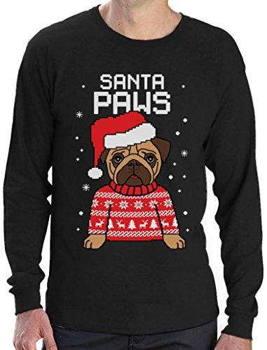 Santa Paws Pfoten - Mops Süßes Weihnachtsshirt Motiv Langarm T-Shirt Schwarz