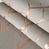 ZCHENG Carta da parati strutturata di colore solido solido del bronzo metallico d'annata del progettista moderno per la casa Impermeabile e lavabile in rilievo Rotolo 10M, D