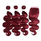 X-tress Haarverlängerung, brasilianisches Remy-Echthaar, gewellt, Bordeauxrot, verschiedene Längen (25,4 cm, 30,5 cm, 35,6 cm + 20,3 cm)