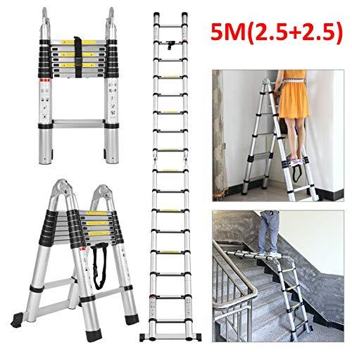 5 m Teleskopleiter, Mehrzweck-Leiter, Aluminium, ausziehbar, tragbar, belastbar bis 150 kg, rutschfest, Sicherheitsverriegelung A Rahmen & gerade Leiter für drinnen und draußen