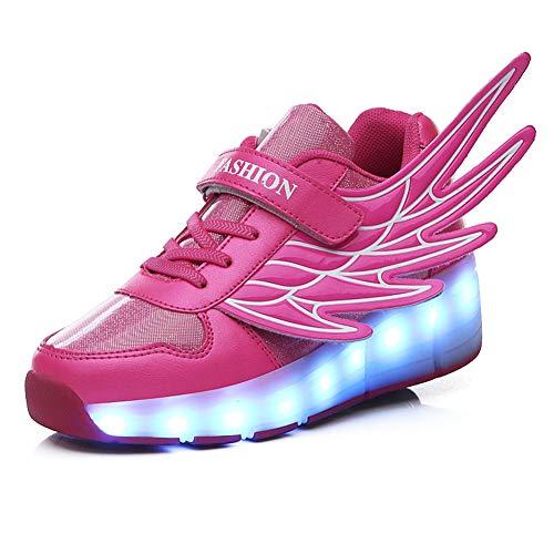 MNVOA Mädchen Junge Mode LED Rollenschuhe mit Automatisch Verstellbares Räder Skateboardschuhe Outdoor-Sportarten Gymnastik Blinken Turnschuhe mit USB Aufladbare,Pink1wheel,39EU - 390 Usb