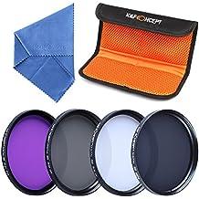 40.5mm UV CPL FLD ND4 - K&F Concept 4 piezas Filtro Polarizador Filtro Densidad Neuta UV Filtro para Sony 16-50 3N para Nikon V1 V2 10-30 + Paño de Limpieza Microfibra + Estuche para 4 Filtros