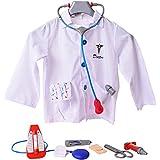 Doktorset Bata De Doctor Abrigo Médico Doctor Accesorio 9 Piezas Estetoscopio Monitor De Presión Arterial