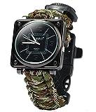 ZENDY Paracord corde carré montres bracelet avec grattoir firestarter inoxydable et...