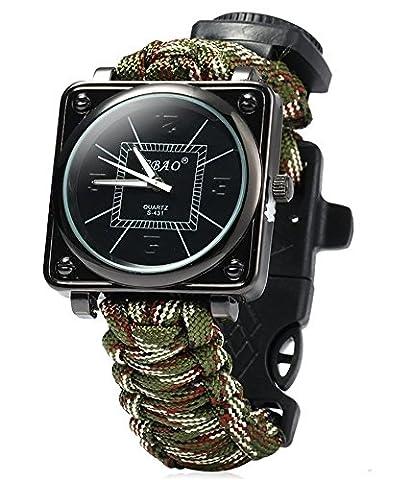 ZENDY Paracord corde carré montres bracelet avec grattoir firestarter inoxydable et un sifflet et une boussole multifonctions outils de survie en plein air (Camouflage)