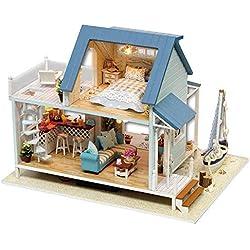 TOPINCN - Kit de Maison de poupée Miniature en Bois - Lumière LED - Meuble de poupée - Maison de poupée pour Enfant - Assemblage décoratif - Maison de poupée - Villa