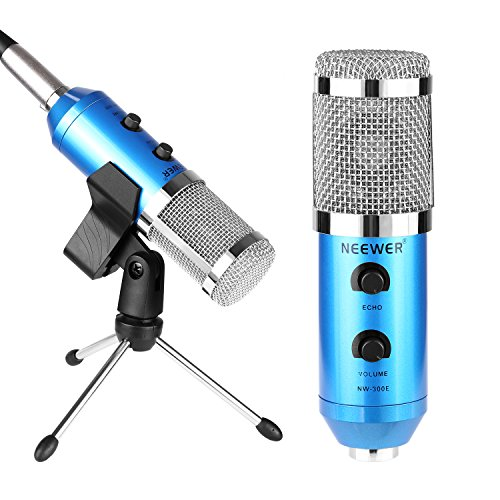 Neewer NW-300E Microfono a Condensatore Blu a USB con Supporto Clip a Farfalla, Mini Treppiedi da Tavolo, Cavo Splitter XLR Femmina a 3,5mm Maschio & Antivento Sferico in Spugna
