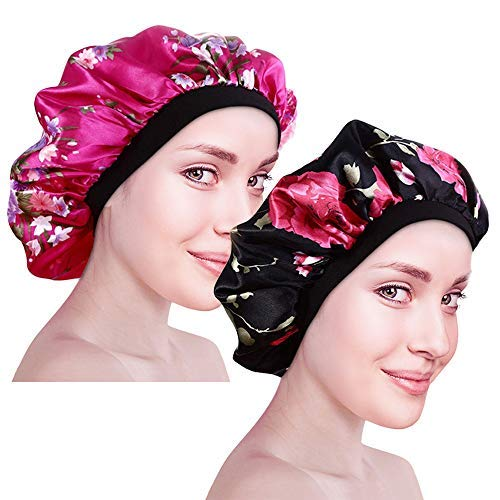 CODIRATO 2 Stück Satin Cap Seide Schlafmütze Satin Schlafmütze mit breitem Gummiband Weiche Nachtmütze für Damen zum Schlaf, Haarpflege (Rosenrot, Schwarz)