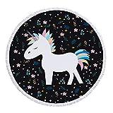 Telo Mare Tondo Rotondo Stampa Unicorno Estivo 2019,arazzo Decorativo, Tovaglia, Telo Da Mare, Pannello Decorativo, Tappeto Per Yoga, 59 Inch